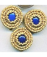 Lapis Beaded Button Covers 9 - $12.05