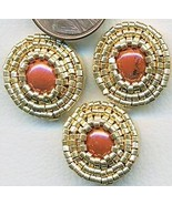 Red Jasper Beaded Button Covers 12 - $12.05