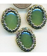 Faux Jade Beaded Button Covers 15 - $10.00
