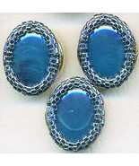 Faux Blue Agate Beaded Button Covers 16 - $10.00