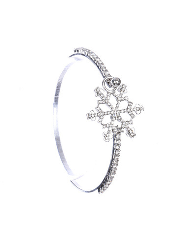 Rhinestone Snowflake Bangle Rhodium or Gold Plate