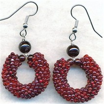Garnet Beaded Rope Earrings - $6.10