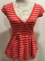 FREE PEOPLE Coral Striped Peplum Knit Tunic Pullover Blouse Top Size X-S... - $29.32