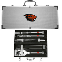 oregon state beavers 8 pc tailgater stainless steel bbq set with metal case - $94.99