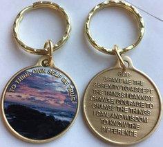 To Thine Own Self Be True Beach Sunrise Color Bronze Keychain AA Serenity Prayer - $13.85