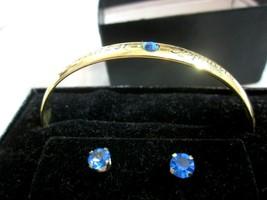 Vintage Anne Klein September Sapphire Bracelet & Earrings SET Gold Tone - $37.13