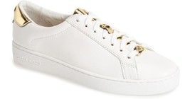 Women's 10 US Sneakers MICHAEL KORS Irving Lace Up Leather White Optic G... - $84.15