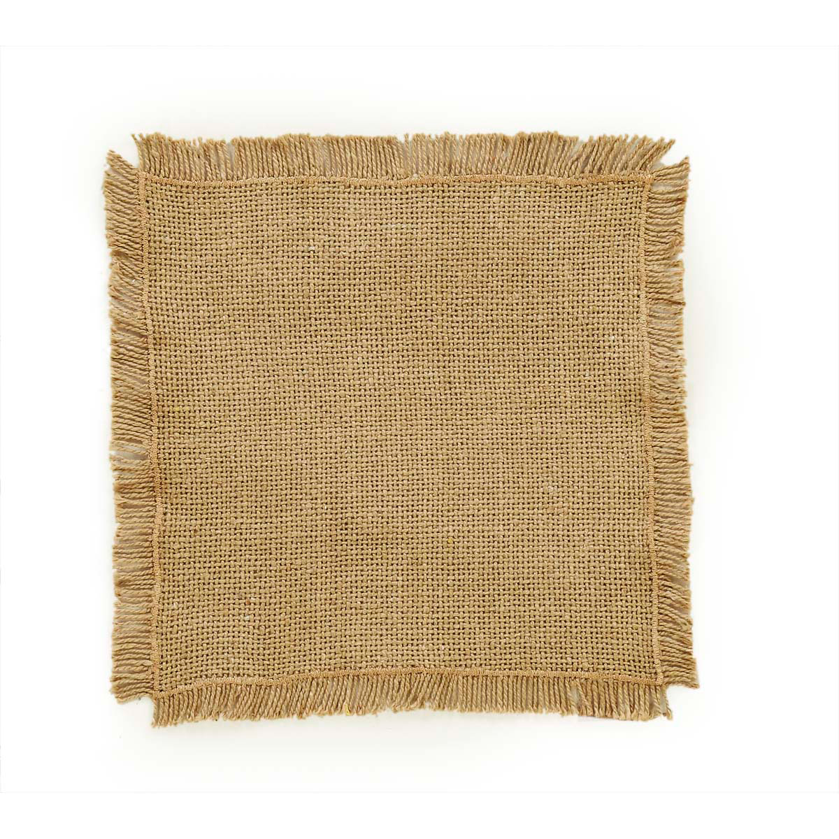 BURLAP NATURAL Tablemat Fringed - Set of 6 - 9x9 - Soft Cotton - VHC Brands