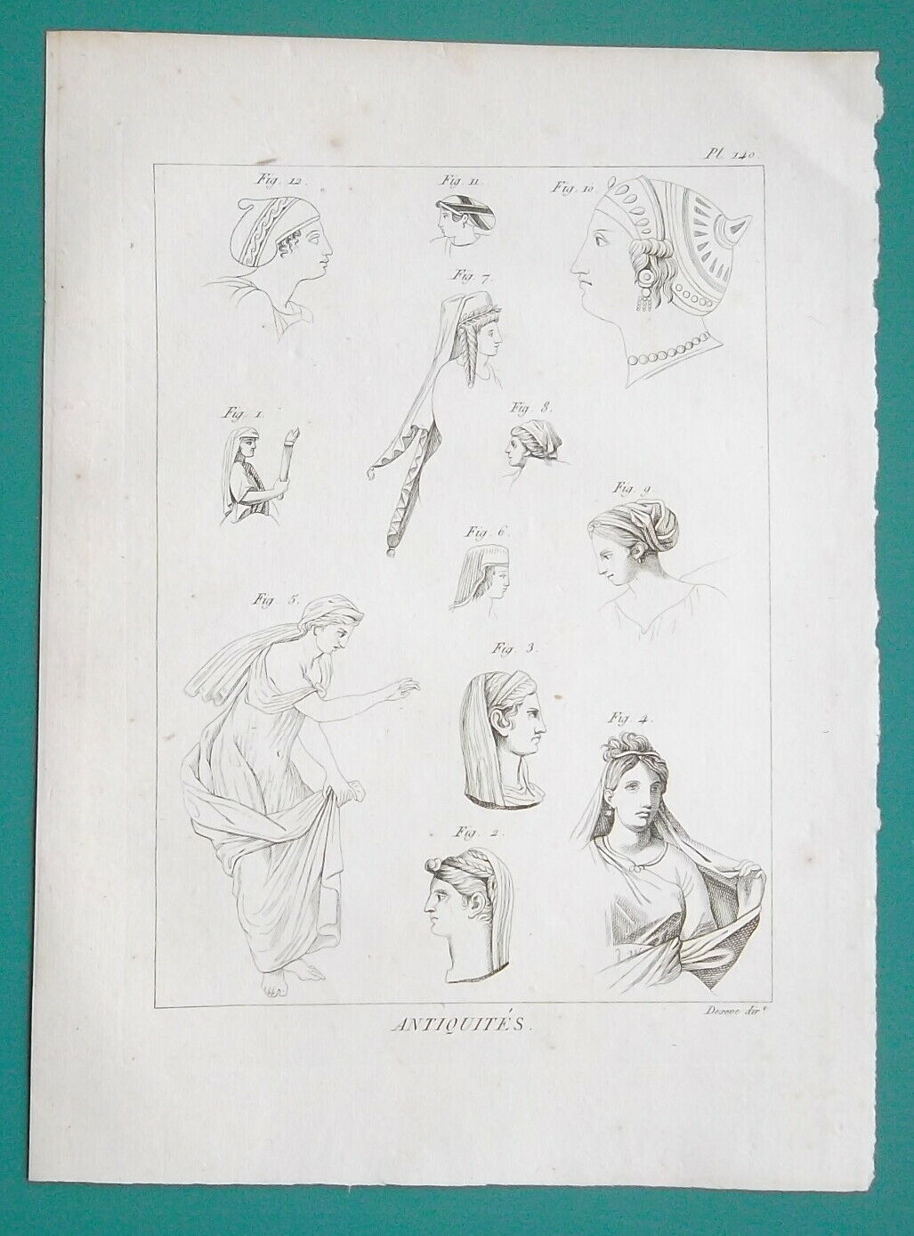 HAIRSTYLE Headgear of Greek Women Venus Leaving Bath - 1804 Antique Print