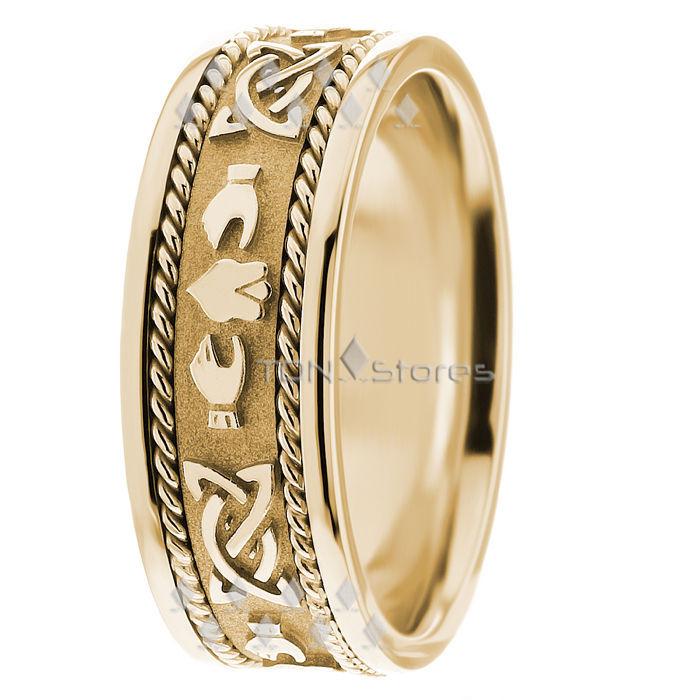 Celtic Knot & Claddagh Wedding Ring Band Mens Celtic Wedding Ring Bands 14K Gold