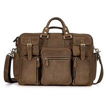 Fashion Mens Accessorie Kattee MultiPocket Leather Messenger Bag Brown L... - $180.25