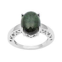 Shine Jewel Green Tourmaline Gemstone 92.5 Sterling Silver Ring - $35.63