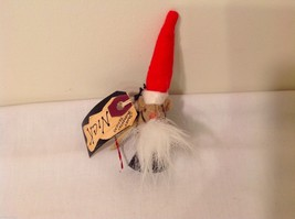 Vintage look Handmade Felt Mouse Ornament in Santa's Beard and Hat w/Candy cane image 3