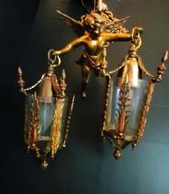 PAIR Antique Cherub Lamp 2 Sconces Victorian ch... - $945.00