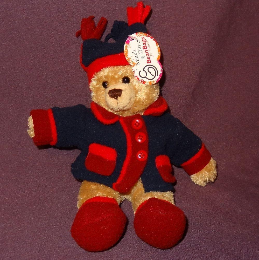 """March of Dimes Teddy Bear Jacket Bean Bag Plush Stuffed Animal Toy 2006 9"""""""