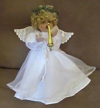 Porcelain Foam Angel Doll Figure w Bugle Hangin... - $29.93