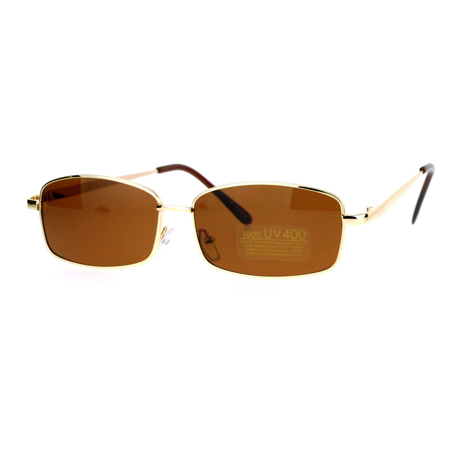Oval Rectangular Sunglasses Unisex Classic Thin Metal Frame UV 400