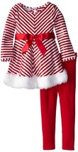 Little Girls 2T-6X Red White Miter Stripe Santa Dress/Legging Set,Bonnie Jean