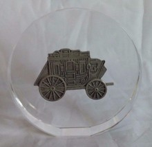 Wells Fargo Bank Wagon Pewter Stagecoach Glass Paperweight Banking Adver... - $16.68