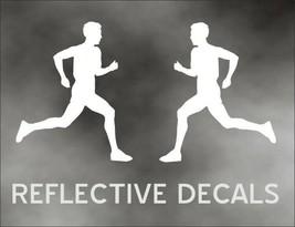 REFLECTIVE PAIR DECAL MARATHON RUNNER run jog jogging in WHITE - $13.83