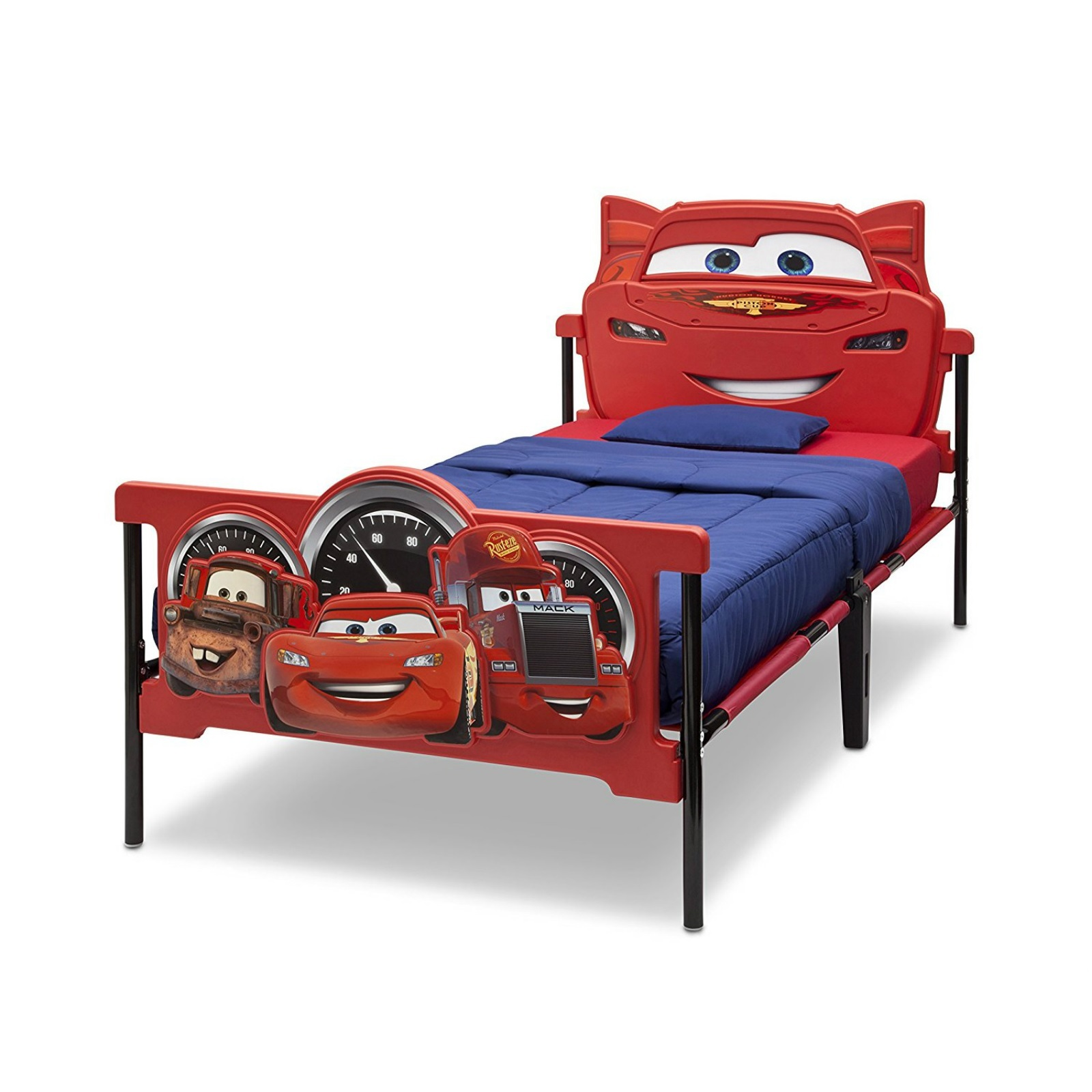 Kids Twin Bed 3D Cars Metal Frame Children Bedroom