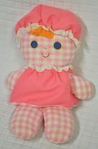 1975 Vtg FISHER PRICE Lolly DOLL Pink GINGHAM Plaid CLOTH Rag BABY Rattl... - $29.95