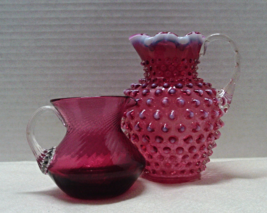 Vintage FENTON Cranberry Glass Pitcher Vases / ... - $52.00
