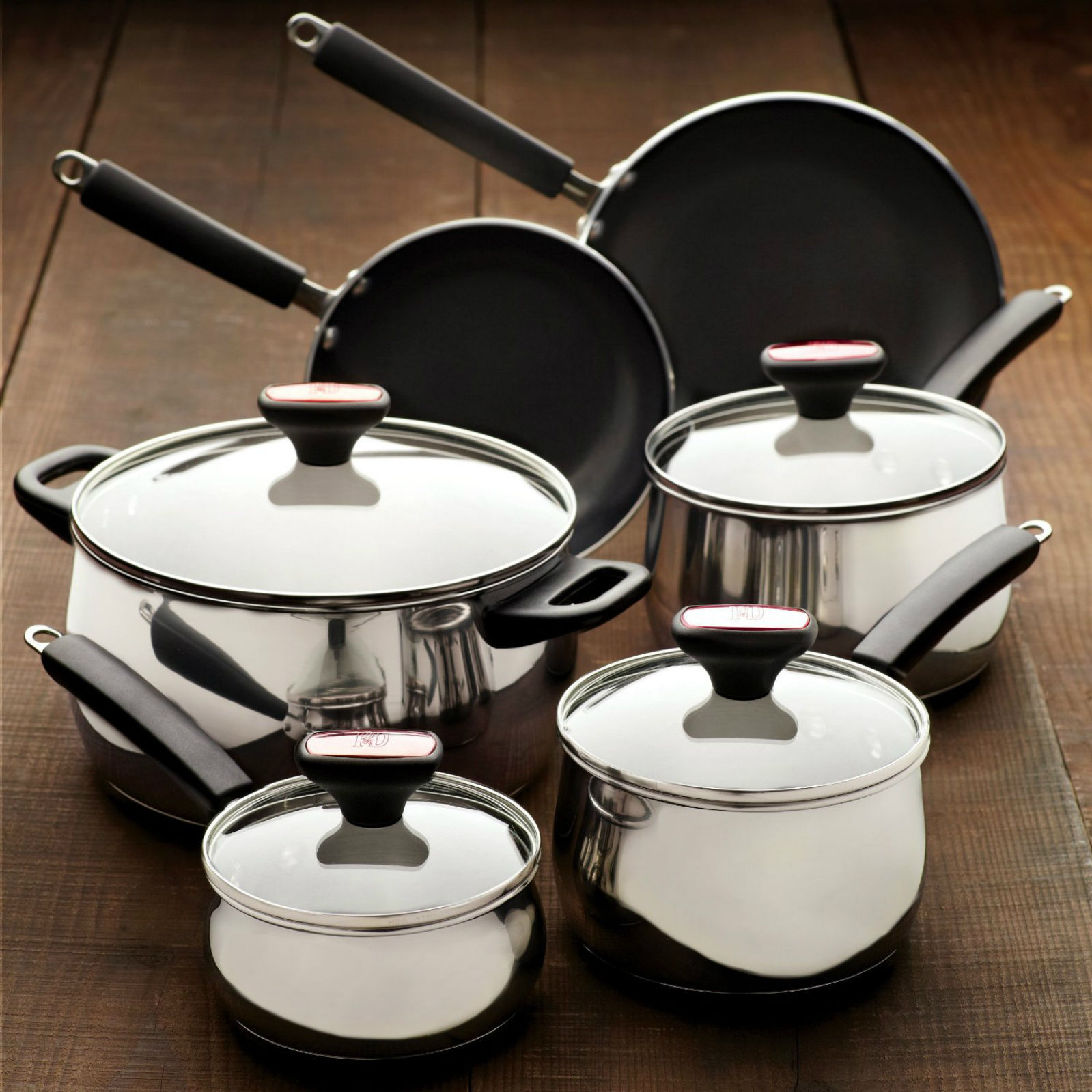 Cookware sets stainless steel nonstick 12 piece pots and for New kitchen set