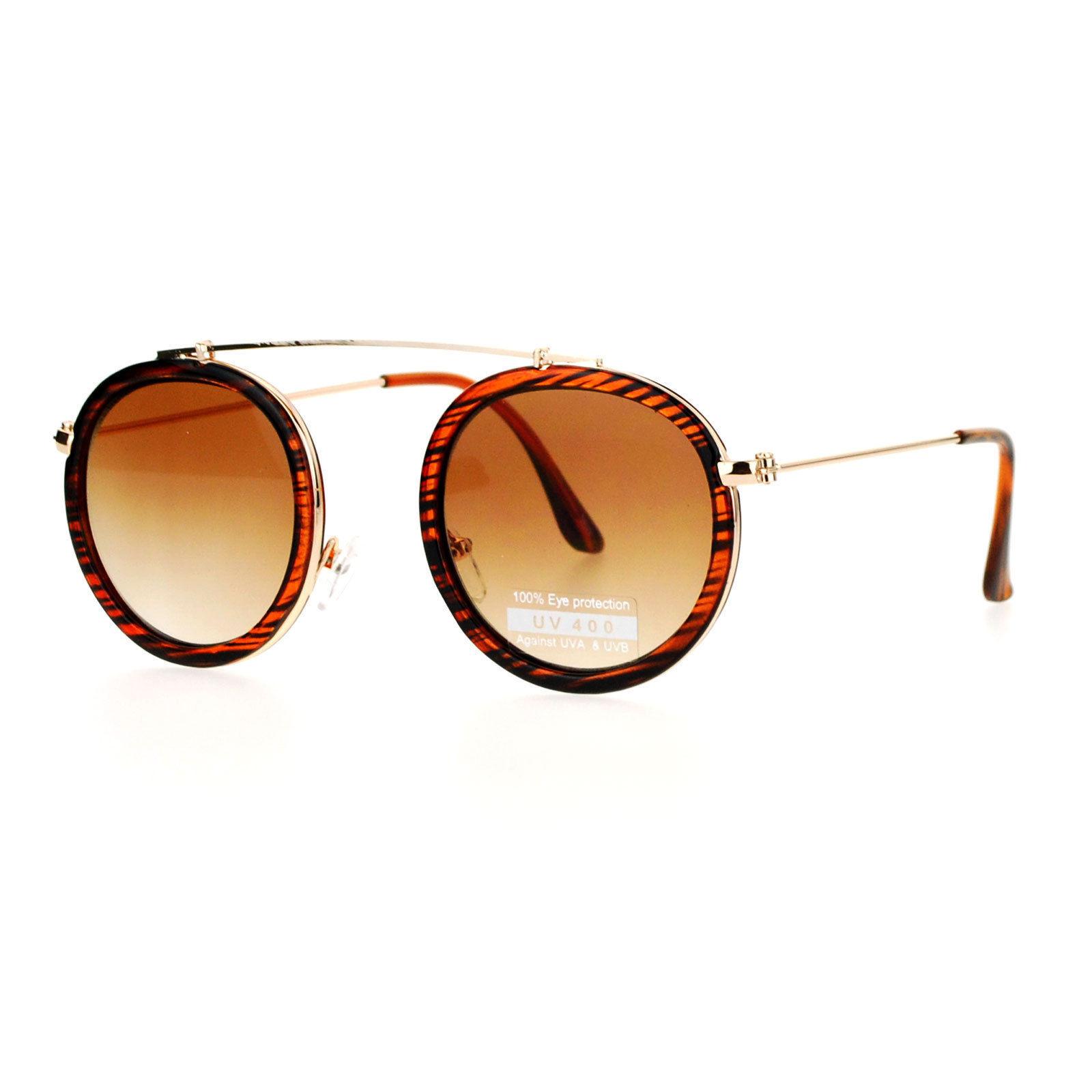 Vintage Retro Fashion Sunglasses Round Metal Top Bridge Flat Narrow Frame Lens