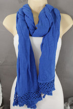 New Banana Republic Women Long Scarf Fashion Cotton Fabric Blue White Ca... - $20.58+