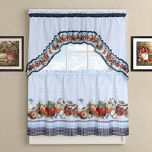 """Golden Delicious Tier and Swag Kitchen Curtain Set 24""""L x 56""""W - $14.79"""