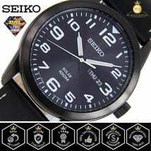 SEIKO SNE477P1 Men's Solar Quartz Watch Silver Tone Black Dial Leather Strap WR - $127.65