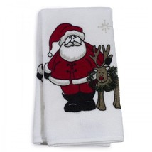 Holiday Themed Guest Towels Santa Claus And Rudolf Christmas Bathroom De... - $34.36