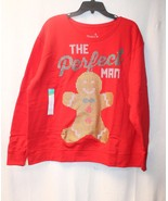 NEW HANES WOMENS SIZE 2X XXL RED THE PERFECT MAN GINGERBREAD SWEATSHIRT ... - $14.50