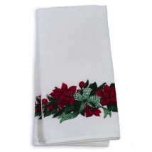Holiday Themed Guest Towels White With Poinsettias Christmas Bathroom De... - $34.93