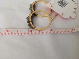 NEW Geranium Gold Toned Dangling Earrings Dark Gray Black Stones Ring Earrings image 5