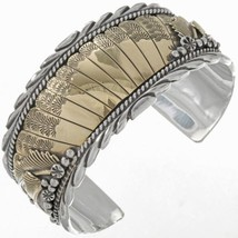 NAVAJO Handmade Sterling Silver Gold Feathers Cuff Dove Pattern HEAVY Br... - €371,93 EUR