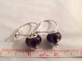 NEW Silver Toned Purple Lampwork Glass Bead Dangling Earrings Filigree  image 4