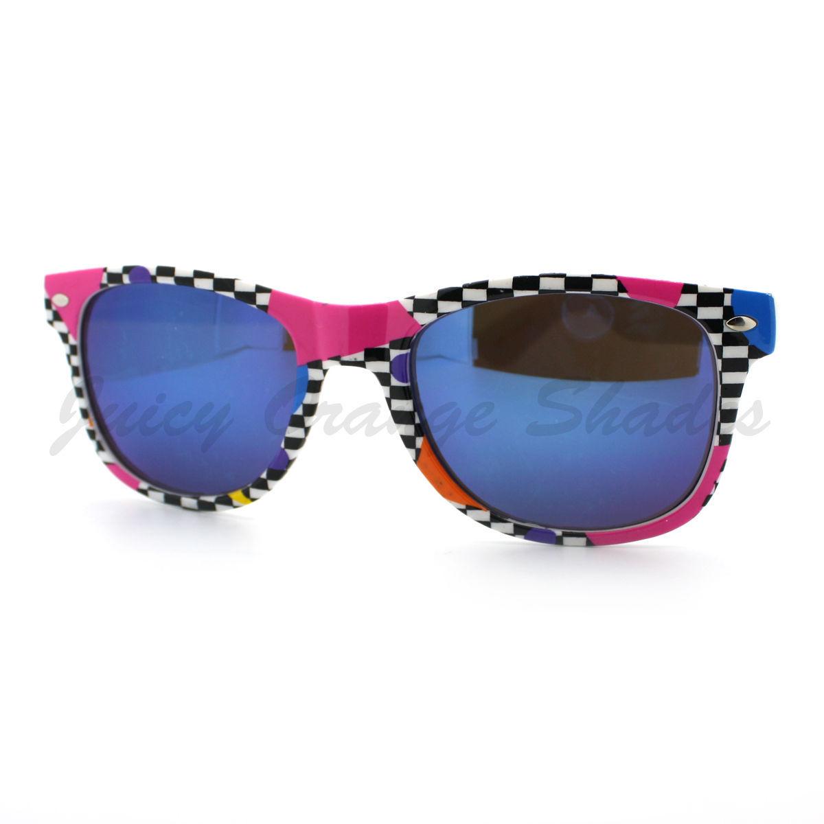 Totally 80's Pop Color Print Sunglasses Classic Square Horn Rim Frame