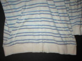 New $148 Womens Medium Juicy Couture Terry Hoodie White Blue Dog Jacket Stripes image 3