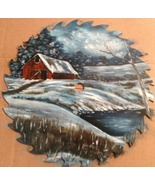 Custom Order Winter Sawblade Red Barn By Pond 1... - $107.00