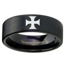 8mm Pipe Cut Maltese Cross Tungsten Carbide Sat... - $34.99