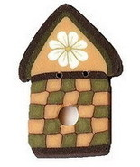 "Daisy Birdhouse 1126 handmade clay button 1"" JABC Just Another Button Co - $2.50"