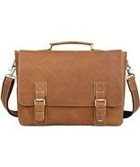 Fashion Iswee Mens Cowhide Leather Flapover Tote Shoulder Bags Messenger... - $158.11