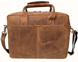 Fashion DH Business Briefcase Distressed Leather Crossbody Shoulder Bag ... - $97.22