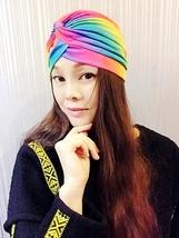 Rainbow Elastic Turban,Womens Turban,Full Turban,Turban Headband,Turban Hat - $11.99