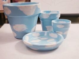 """""""Cloudly Triplet Set"""" 3 Hand-painted terracotta plant/flower pot - $22.00"""