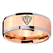 8mm Beveled CTR Design Rose Gold IP Tungsten Carbide Ring Sz 7-14 - $34.99