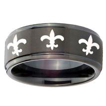 8mm Step Edge Multiple Fleur De Lis Black Tungsten Carbide Ring Sz 7-14 - $39.99