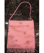 Pink Fringed Old Navy Dress Purse Pocketbook with Crystal Accents and Fl... - $7.99